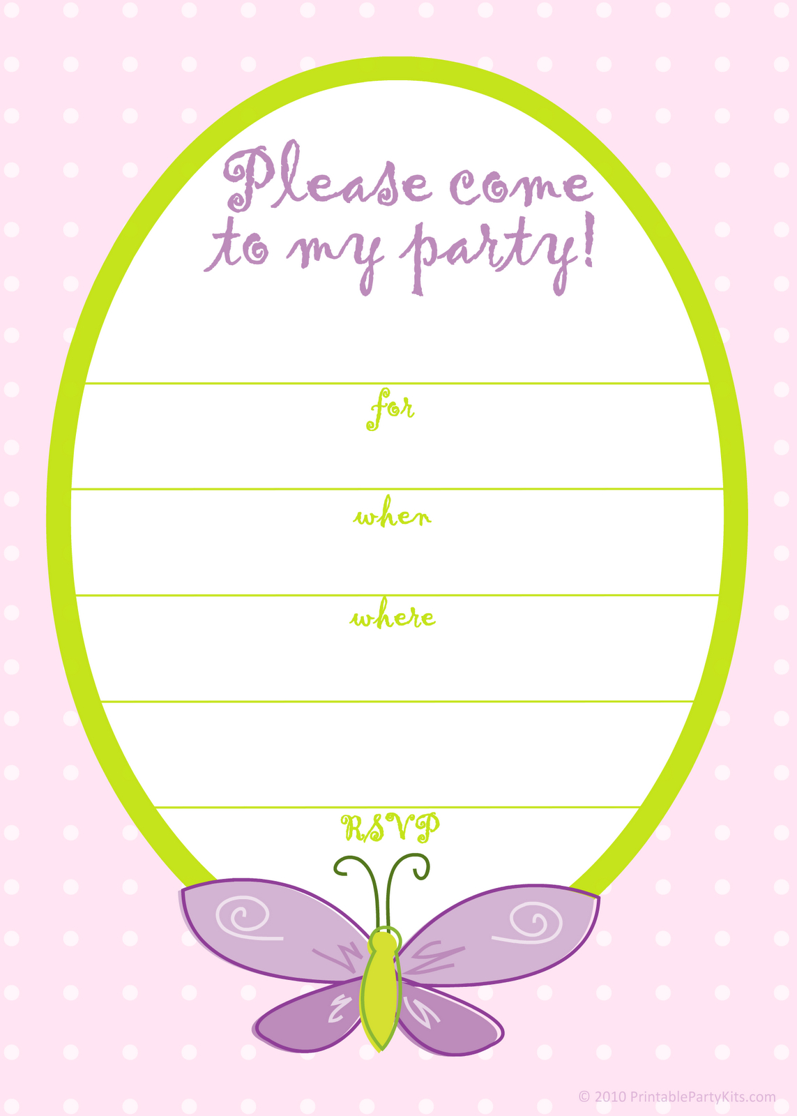 Free Printable Party Invitations: Free Pink Butterfly Girls Birthday - Free Printable Girl Birthday Invitations