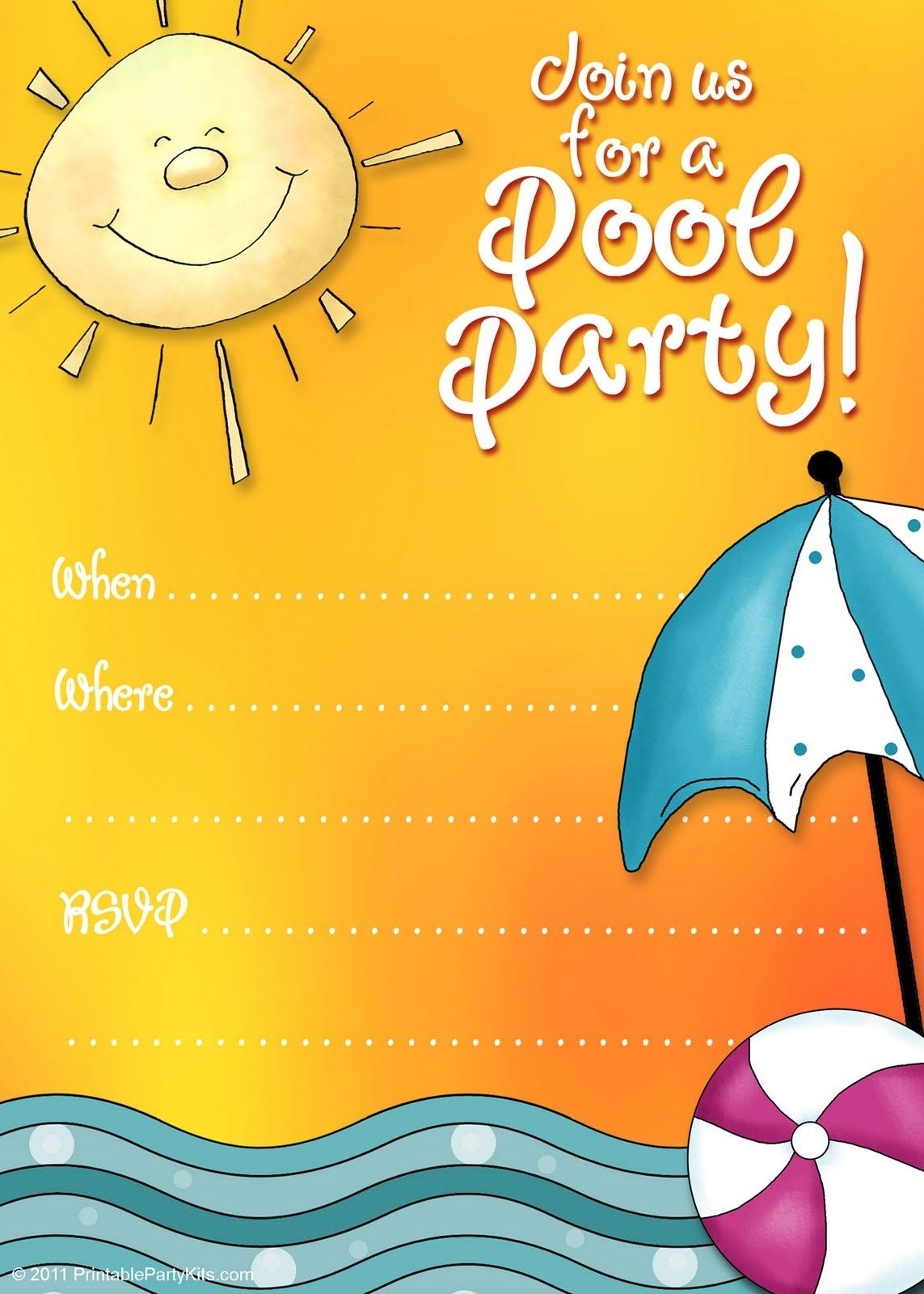 Free Printable Party Invitations: Summer Pool Party Invites | Adhd - Free Printable Pool Party Invitation Cards