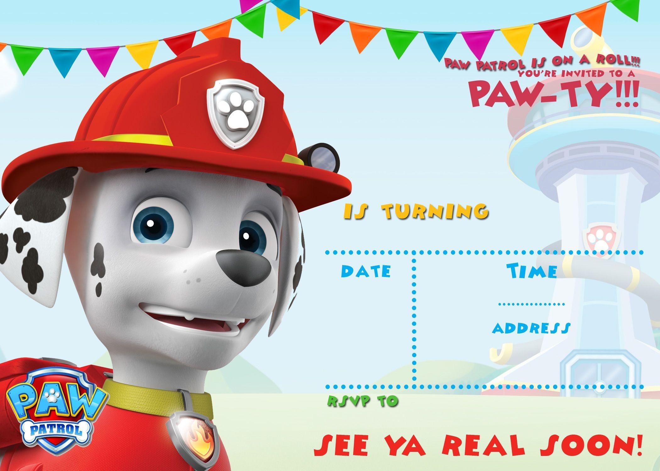 Free Printable Paw Patrol Invitation Template - All Characters | Paw - Free Printable Paw Patrol Invitations