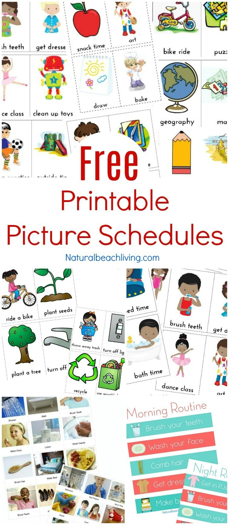 Free Printable Picture Schedule Cards - Visual Schedule Printables - To Have And To Hold Your Hair Back Free Printable