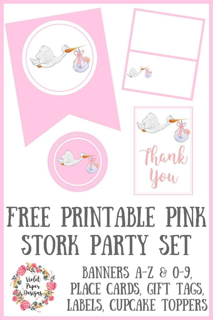 Free Printable Pink Stork Baby Shower Party Set | Free Must Have - Free Stork Party Invitations Printable