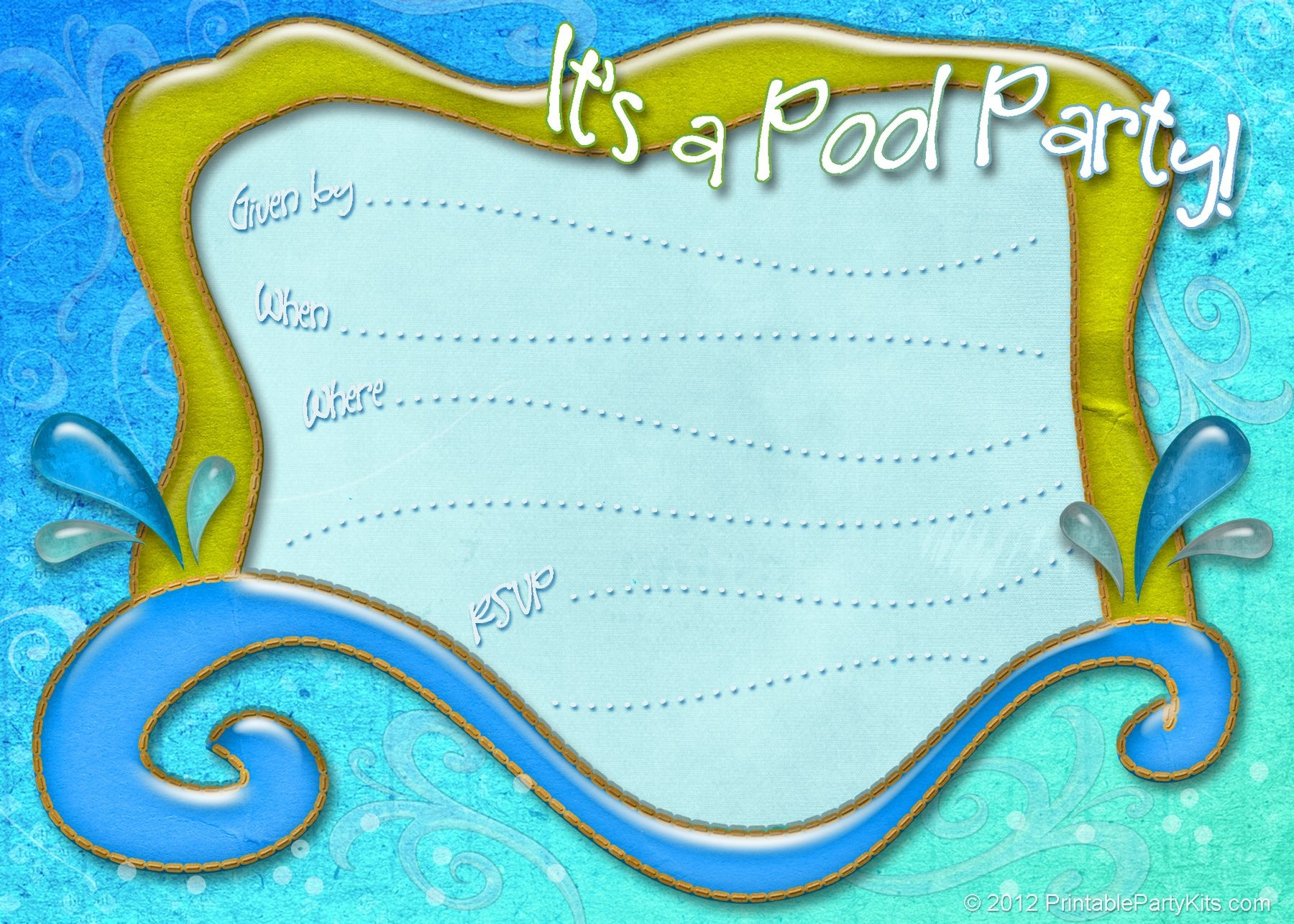 Free Printable Pool Party Invitation Template From - Free Printable Pool Party Invitation Cards