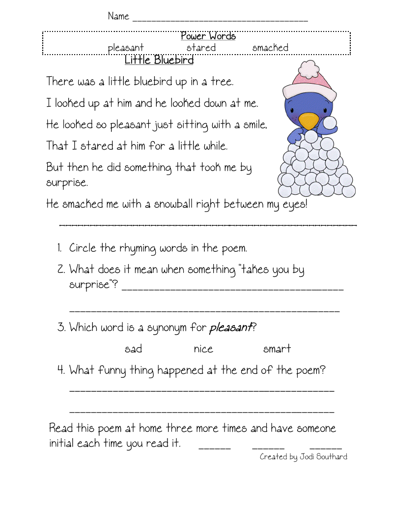Free Printable Reading Comprehension Worksheets For Kindergarten - Free Printable Short Stories For 4Th Graders
