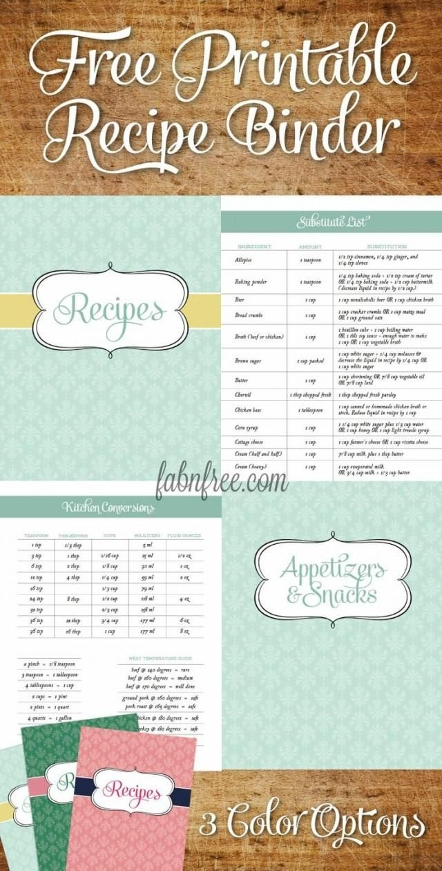 Free Printable Recipe Binder!! Tons Of Pages!! // Fabnfree | I - Free Printable Recipe Book Pages