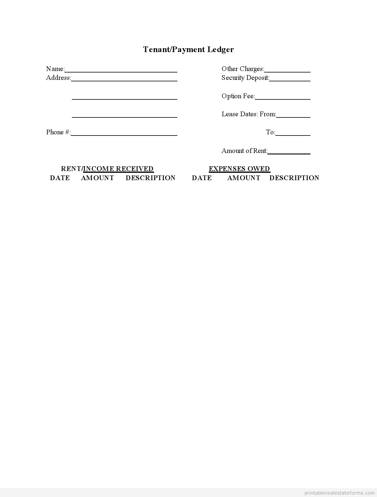 Free Printable Rental Ledger Template Form (Sample Pdf) - Free Printable Rent Ledger