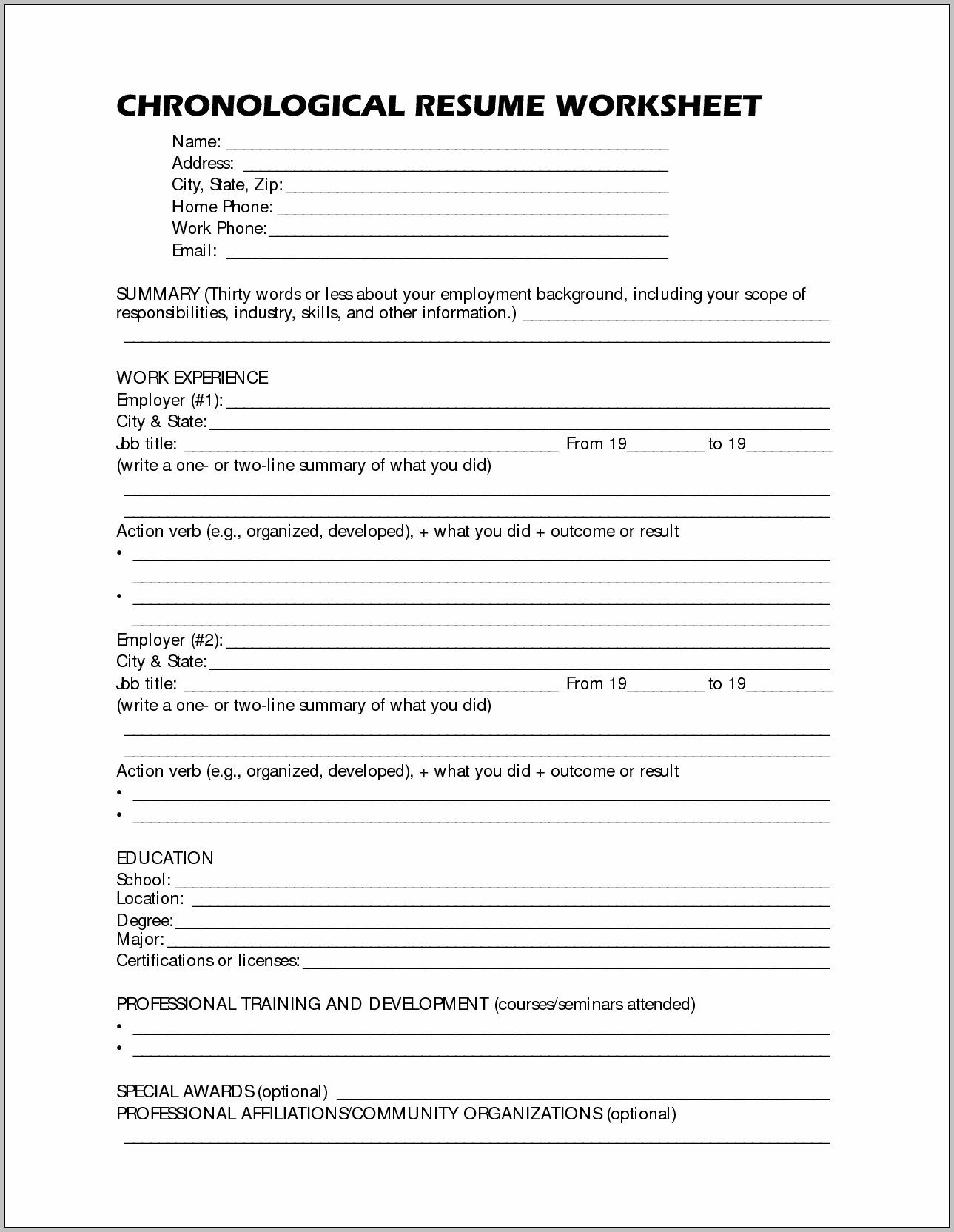 Free Printable Resume Worksheet   Shop Fresh - Free Printable Resume