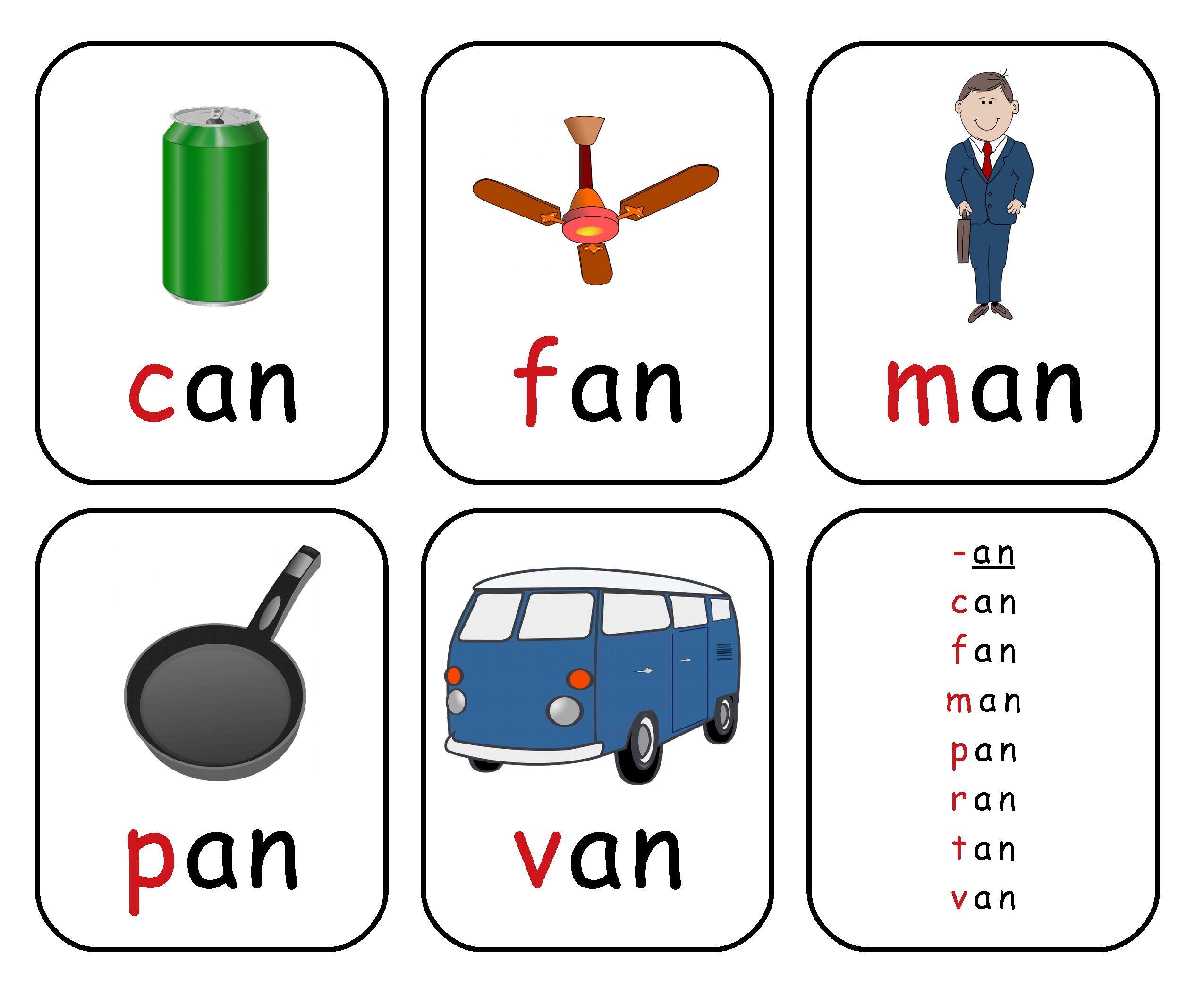 Free Printable Rhyming Words Flash Cards '-An'   Free Printable For - Free Printable Rhyming Words Flash Cards