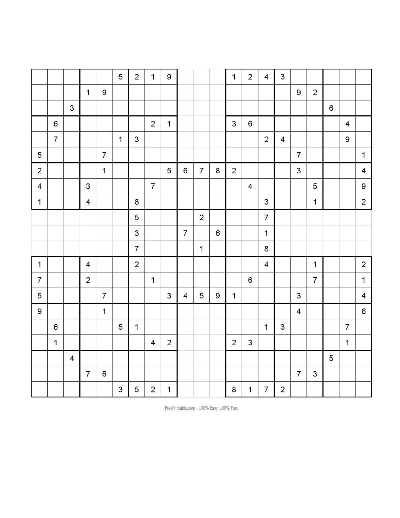 Free Printable Samurai Sudoku Puzzles | Spellen | Spellen - Free Printable Samurai Sudoku