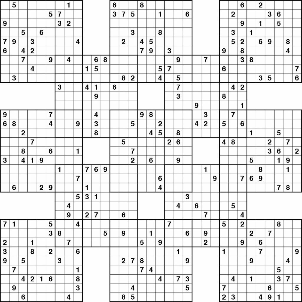 Free Printable Samurai Sudoku Puzzles   Spellen - Sudoku Puzzles - Free Printable Samurai Sudoku