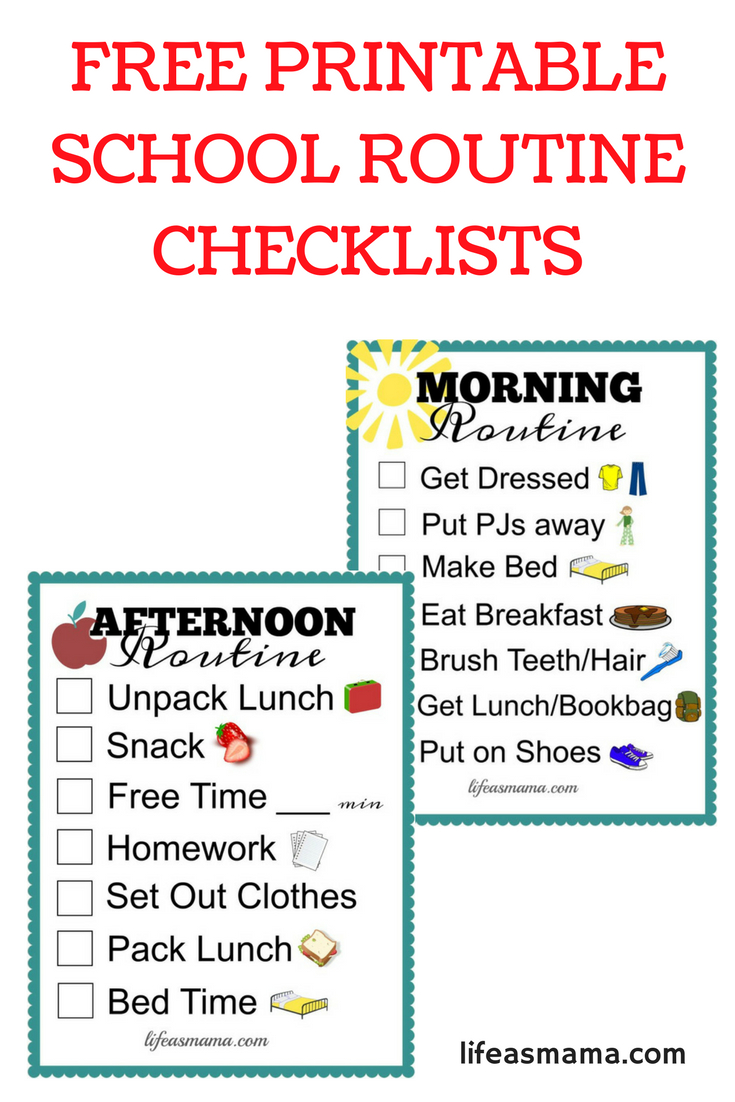 Free Printable School Routine Checklists | Printables | School - Free Printable Morning Routine Chart