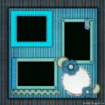 Free Printable Scrapbook Layouts   Blue And Stripes Layout File Size   Free Printable Scrapbook Pages
