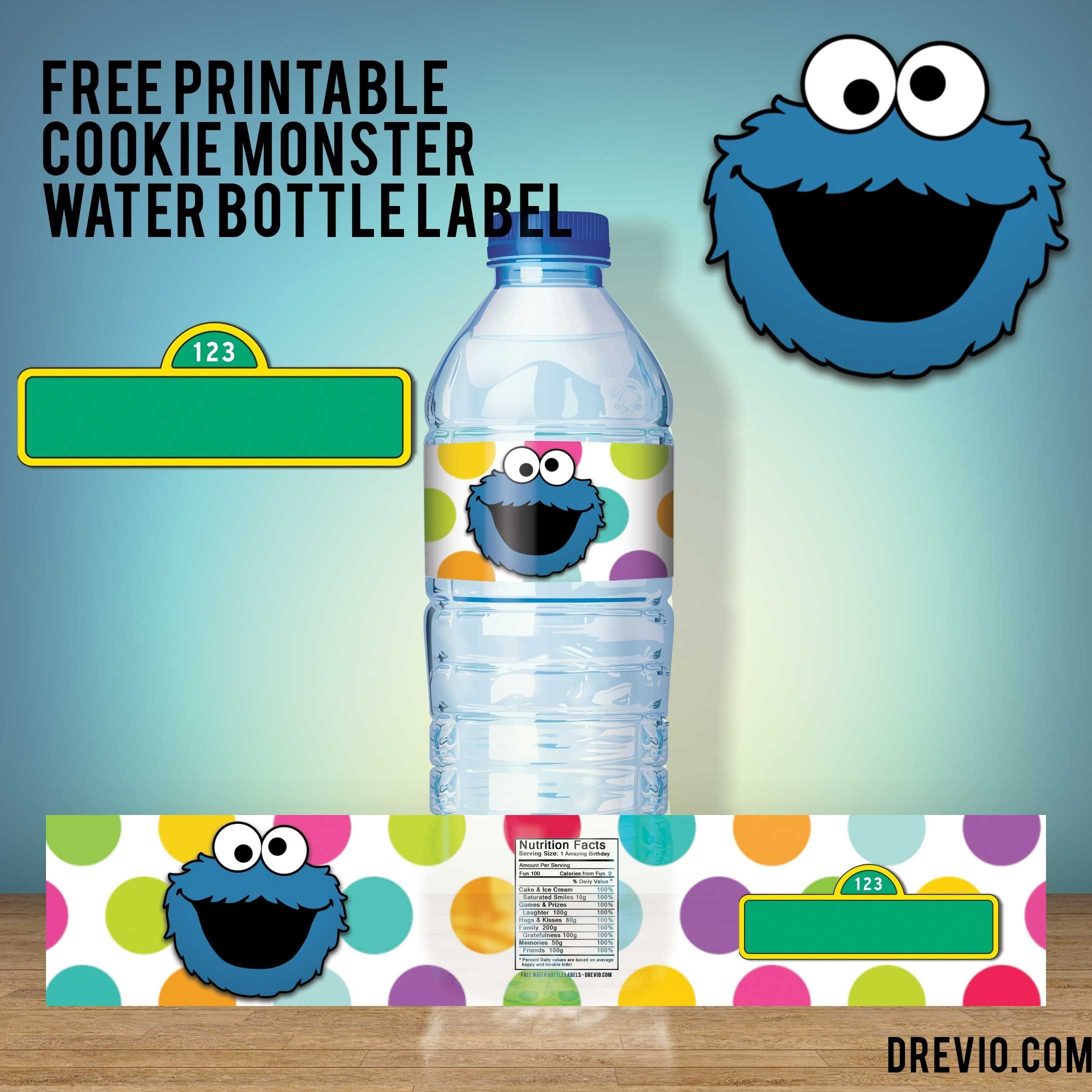 Free Printable Sesame Street Water Bottle Labels - Our Best - Free Printable Cookie Monster Birthday Invitations