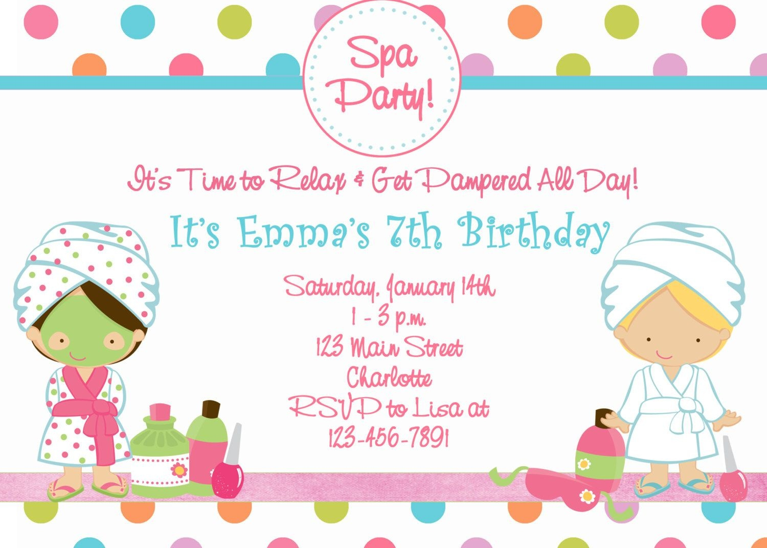 Free Printable Spa Birthday Party Invitations | Spa At Home | Spa - Free Printable Spa Party Invitations Templates