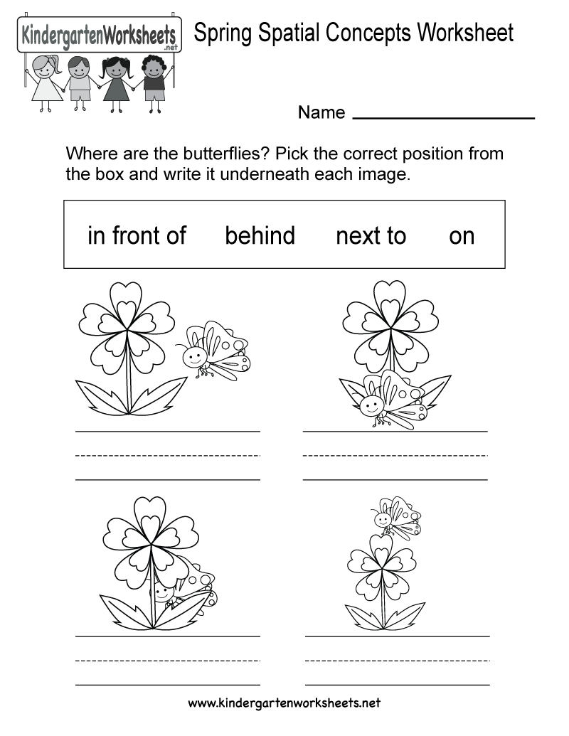 Free Printable Spring Spatial Concepts Worksheet For Kindergarten - Free Printable Spring Worksheets For Kindergarten