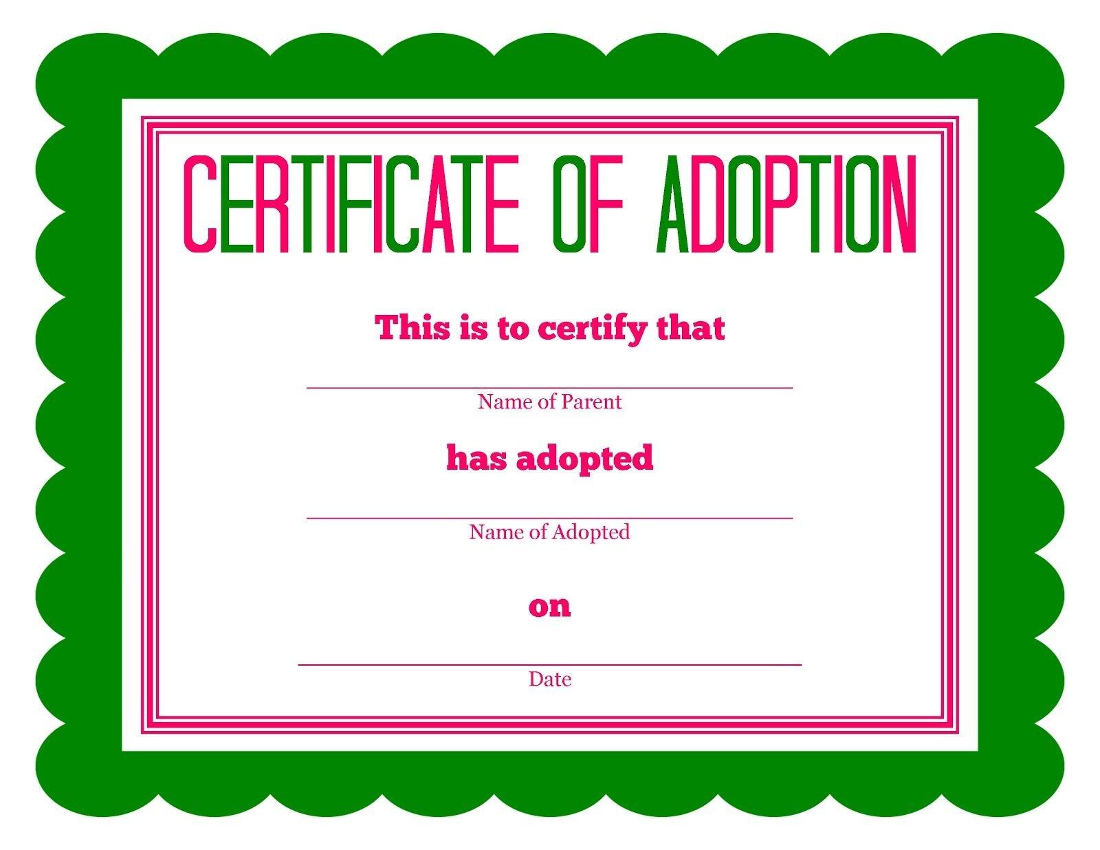 Free Printable Stuffed Animal Adoption Certificate   Free Printables - Free Printable Adoption Certificate