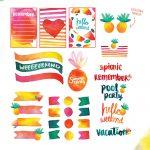 Free Printable: Summer Watercolor Planner Stickers | Blitsy   Scrapbooking Die Cuts Free Printable