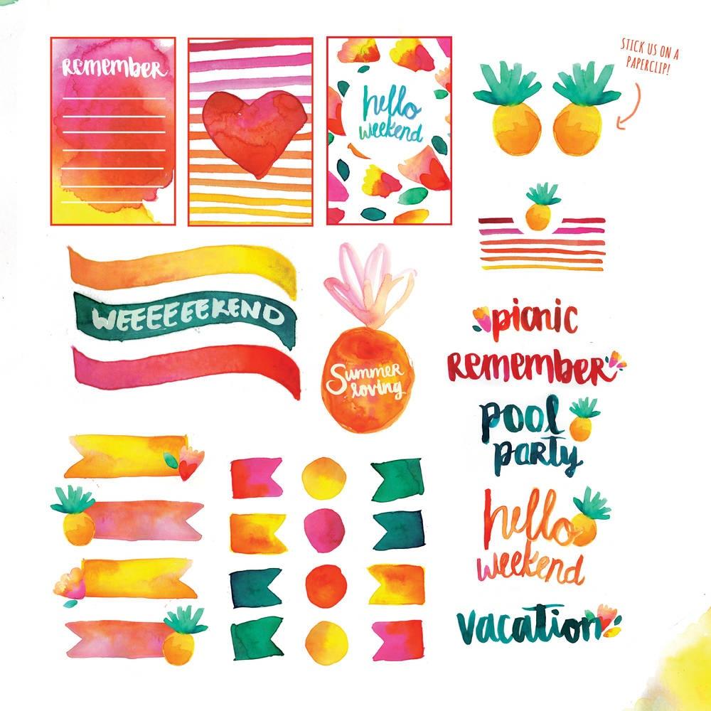 Free Printable: Summer Watercolor Planner Stickers | Blitsy - Scrapbooking Die Cuts Free Printable
