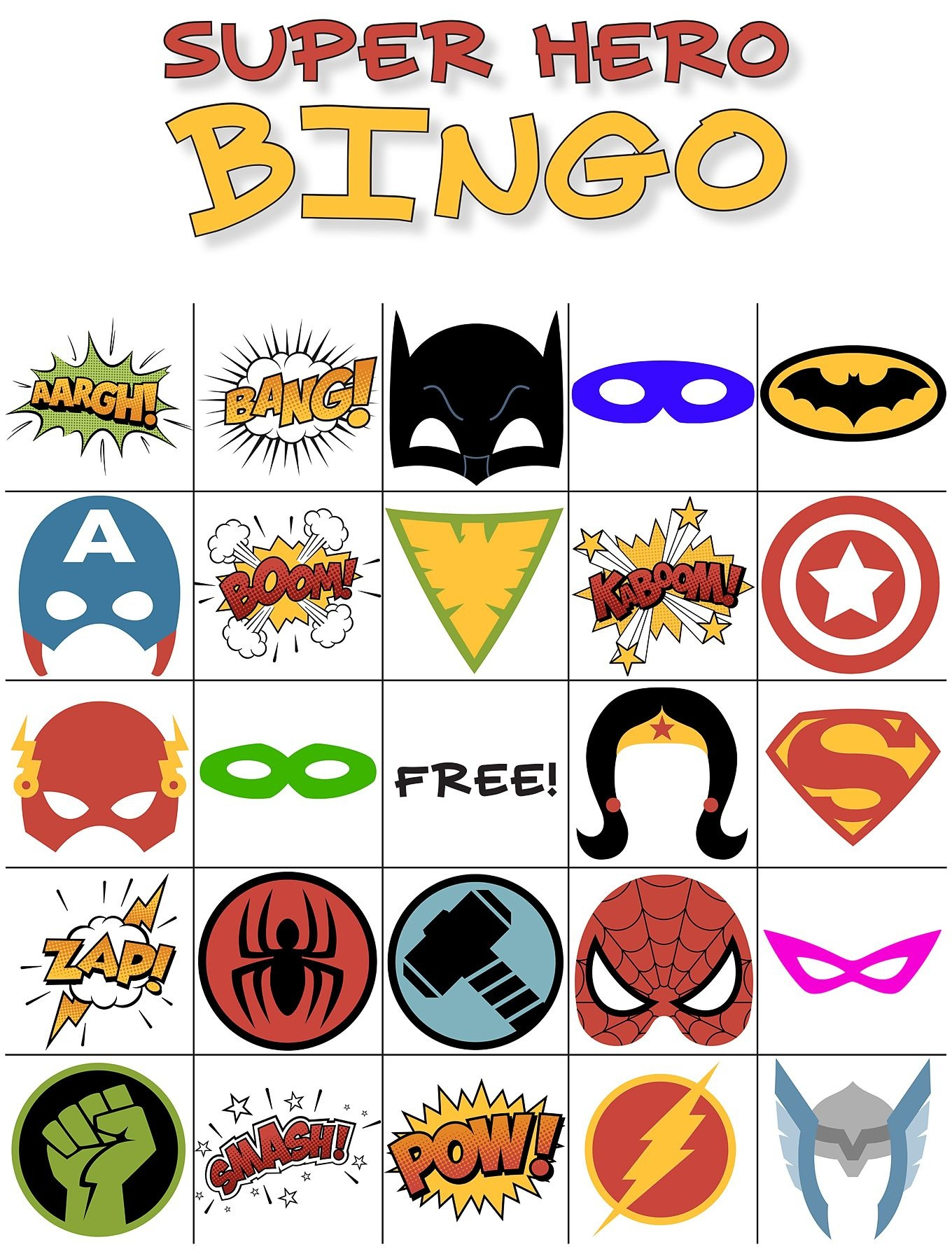 Free Printable Super Hero Bingo Party | Fundraising | Superhero - Free Printable Superhero Pictures