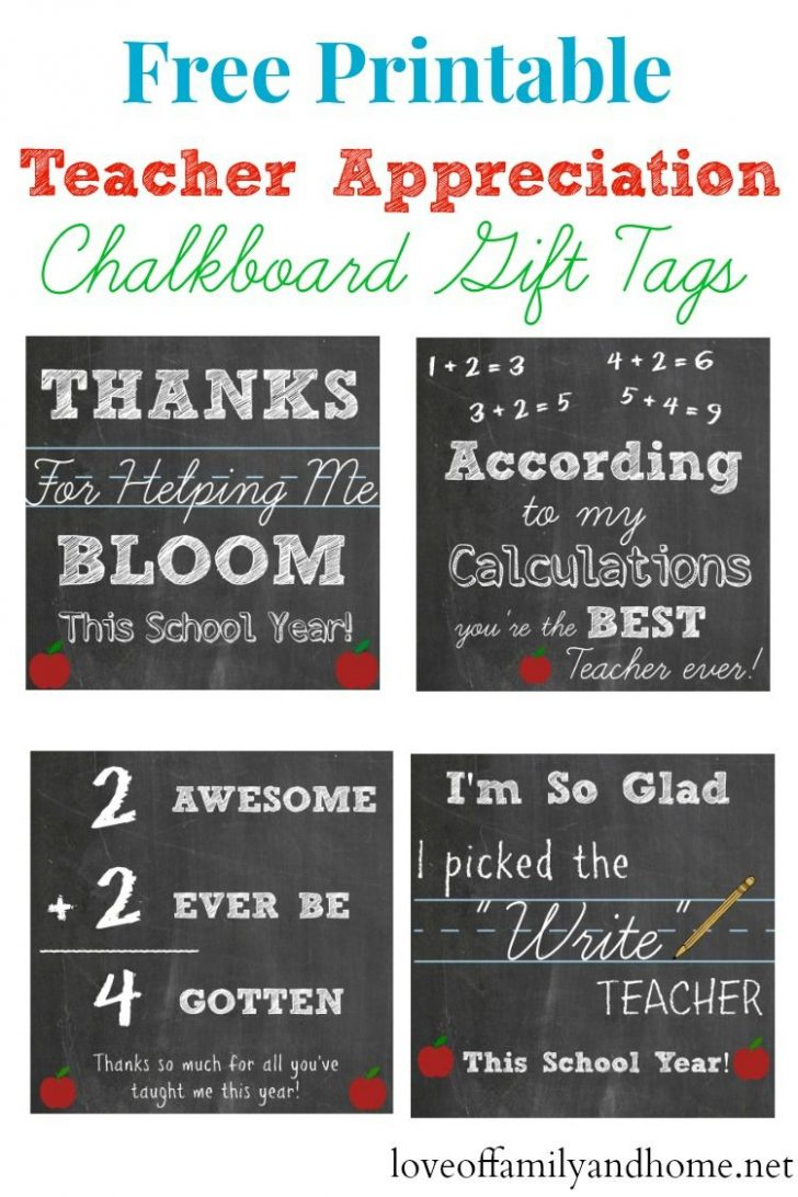 Free Printable Tags For Teacher Appreciation