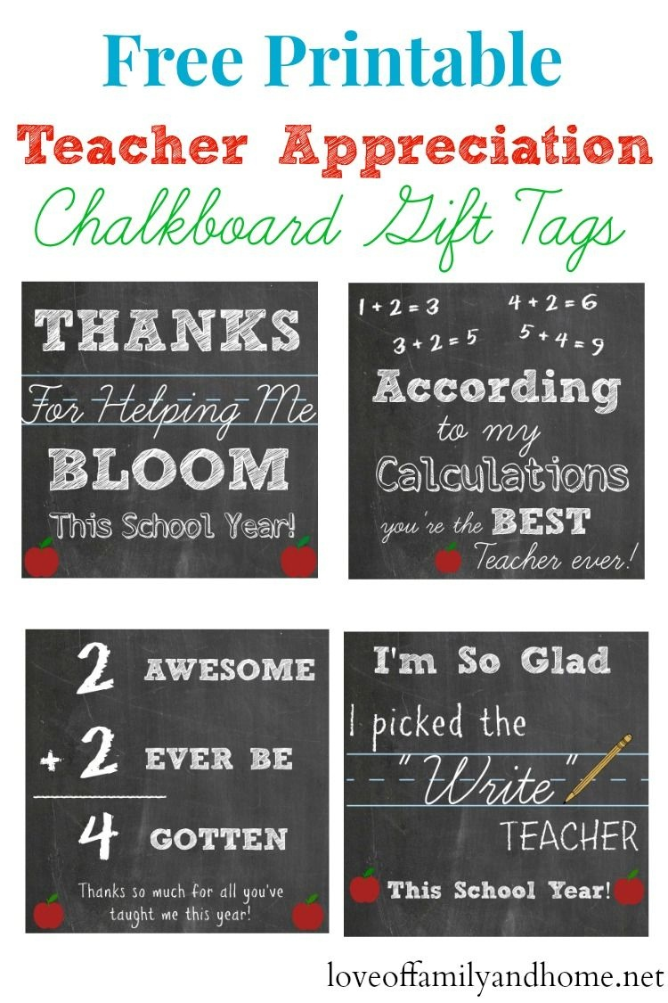 Free Printable Teacher Appreciation Chalkboard Gift Tags - Free Printable Tags For Teacher Appreciation