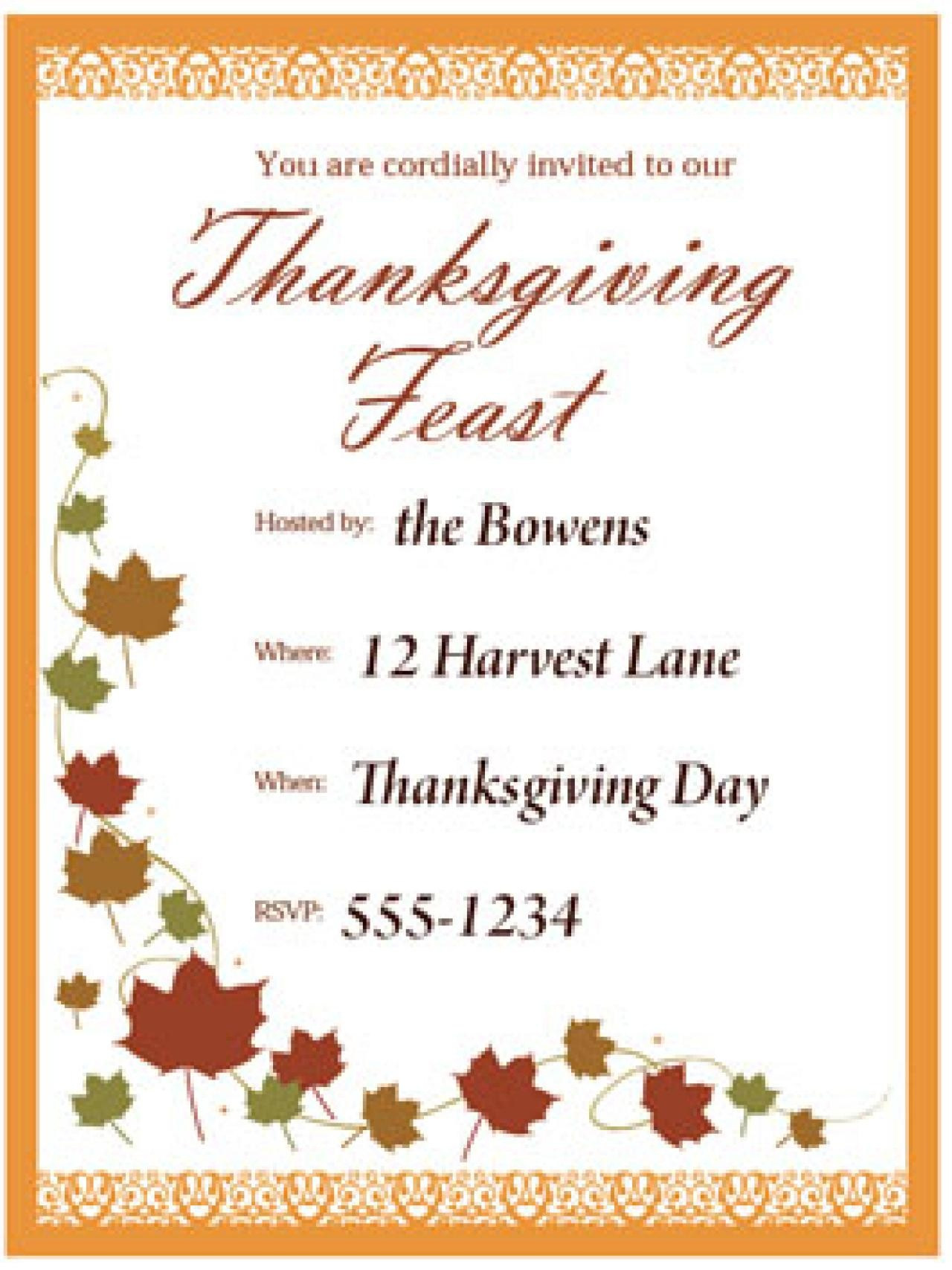 Free Printable Thanksgiving Invitations Cards – Happy Easter - Happy Thanksgiving Cards Free Printable