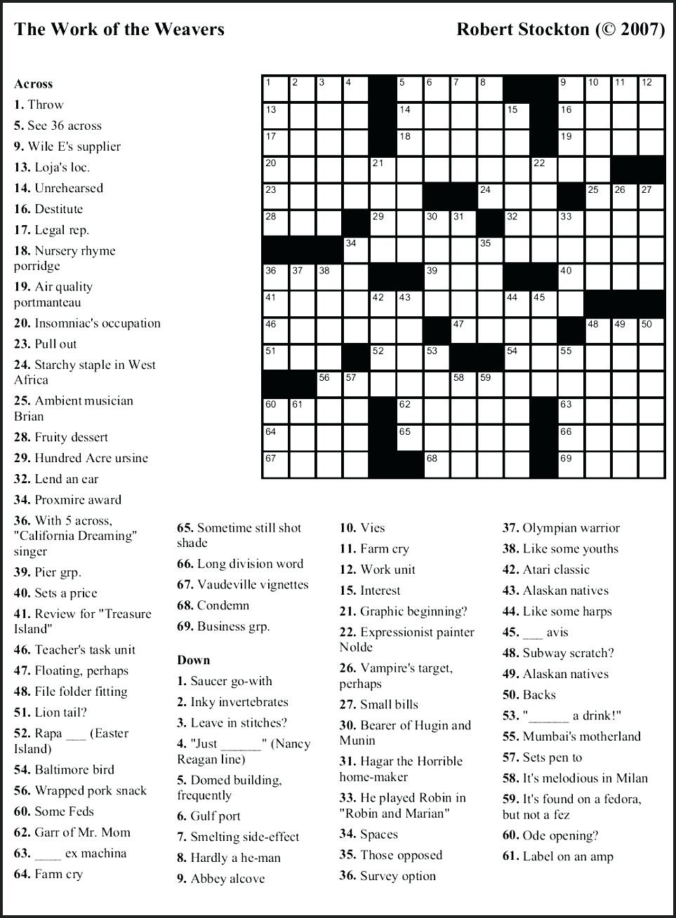 Free Printable Themed Crossword Puzzles – Myheartbeats.club - Free Printable Themed Crossword Puzzles