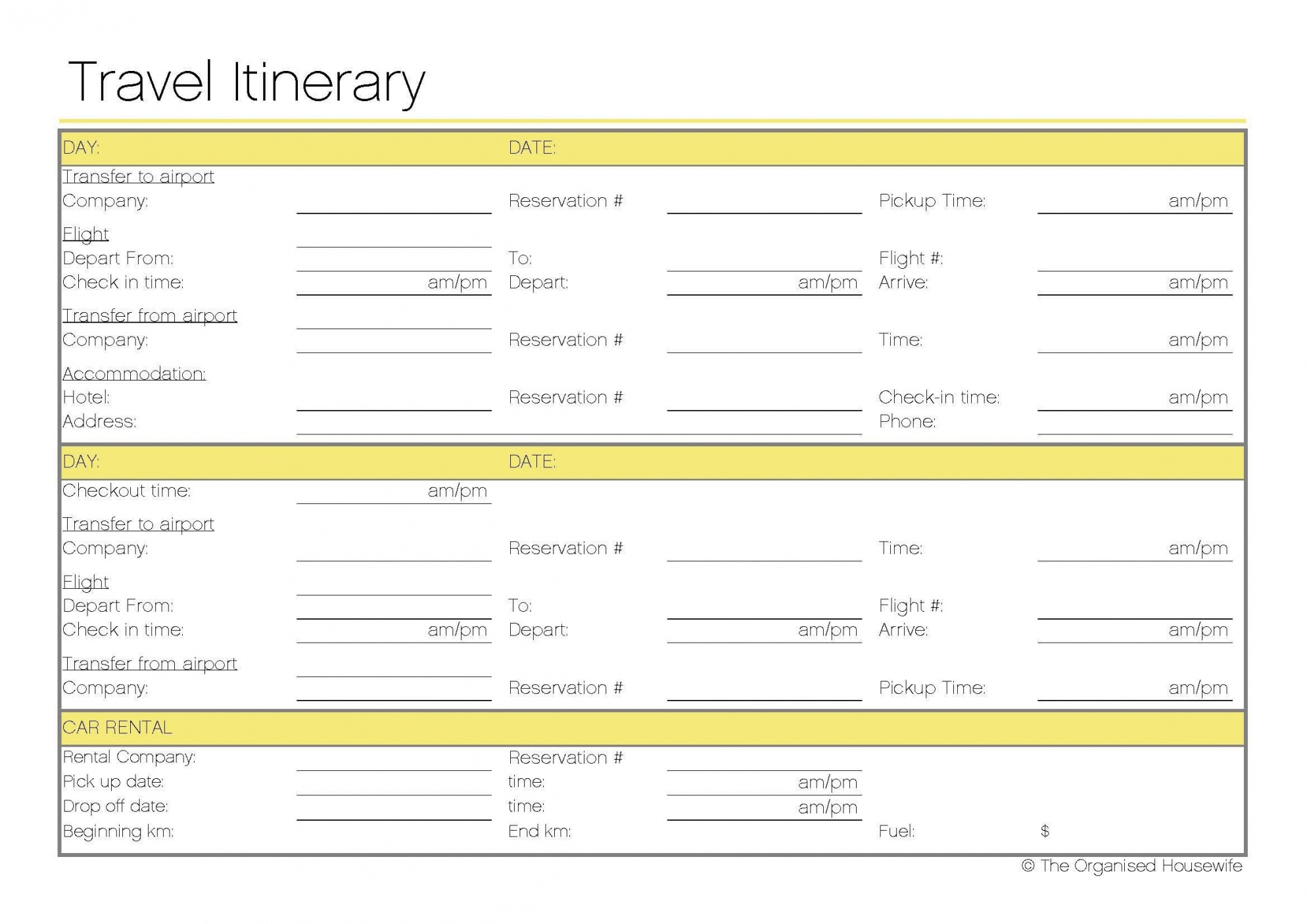 Free Printable – Travel Itinerary | Itineraries, Etc. | Pinterest - Free Printable Itinerary