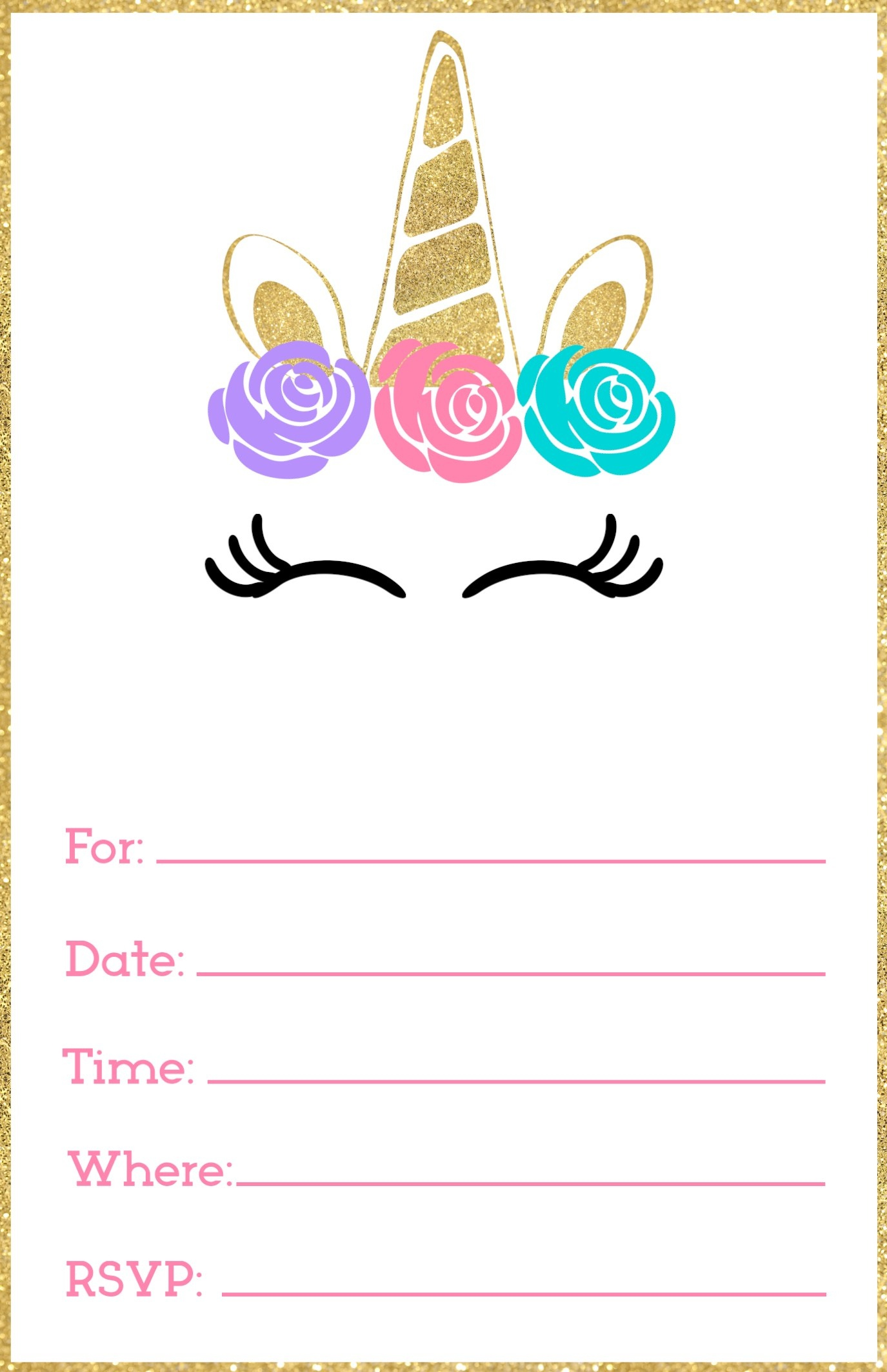 Free Printable Unicorn Invitations Template - Paper Trail Design - Free Printable Birthday Invitations