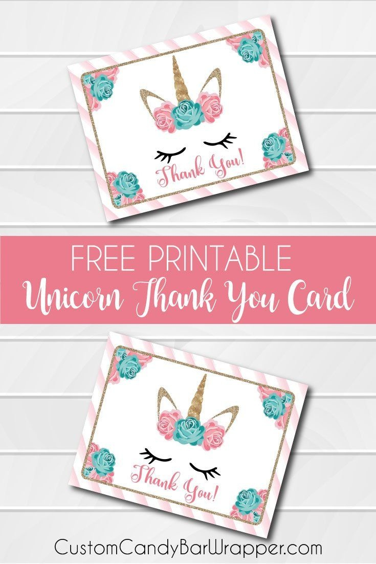 Free Printable Unicorn Thank You Cards | Addie's Wishes | Unicorn - Free Printable Mermaid Thank You Cards