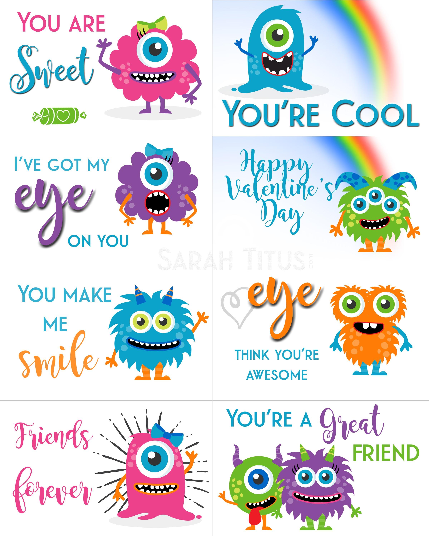 Free Printable Valentine Cards - Sarah Titus - Free Printable Valentine Cards For Kids