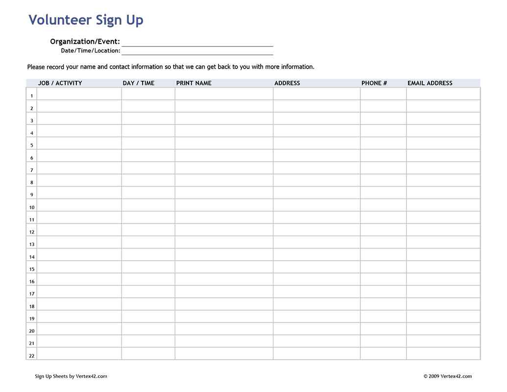 Free Printable Volunteer Sign Up Sheet (Pdf) From Vertex42 | For - Free Printable Sign In Sheet Template