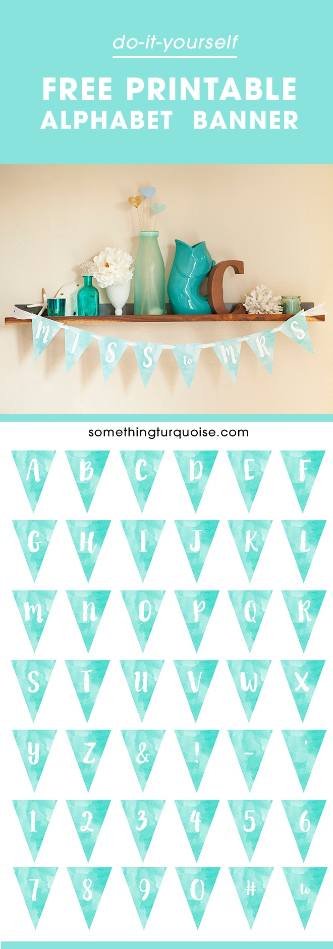 Free Printable Watercolor Alphabet Banner! Adorable! - Free Printable Miss To Mrs Banner