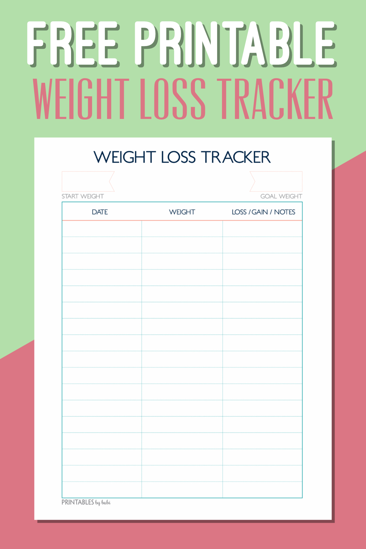 Free Printable Weight Loss Tracker – Instant Download Pdf - Printable Weight Loss Charts Free