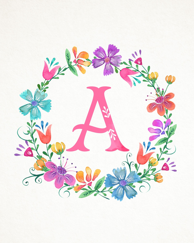 Free Printable Whimsical Watercolor Monograms - The Cottage Market - Free Printable Monogram