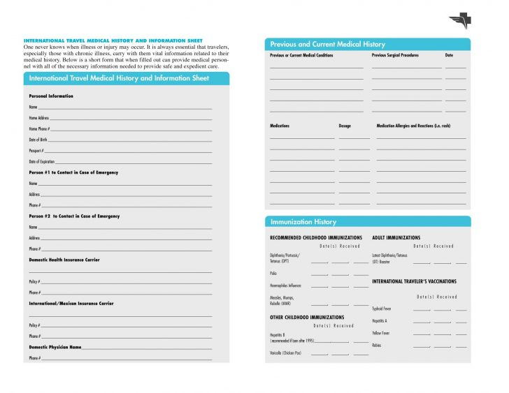 Free Printable Personal Medical History Forms