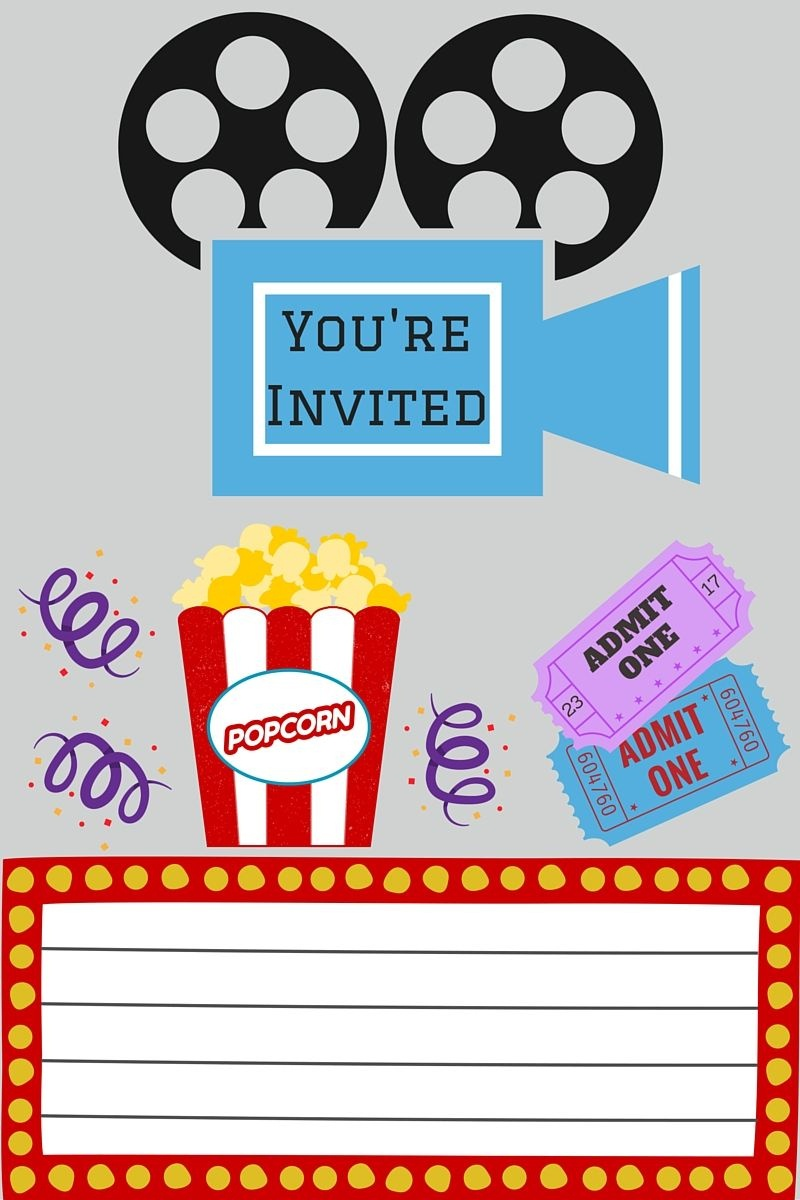 Free Printables | Printables | Movie Night Invitations, Movie Party - Movie Night Birthday Invitations Free Printable