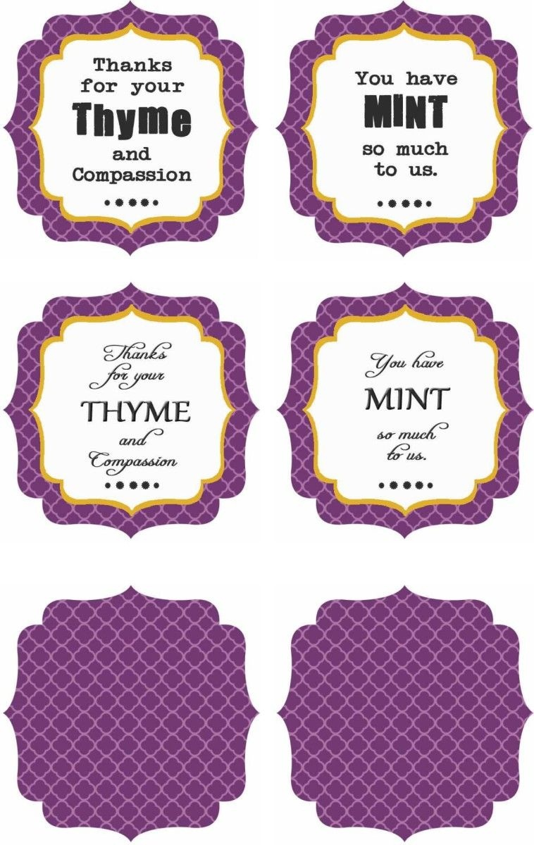 Free Printables : Thank You Labels | School Nurse | Thank You Labels - Free Printable Plant Labels
