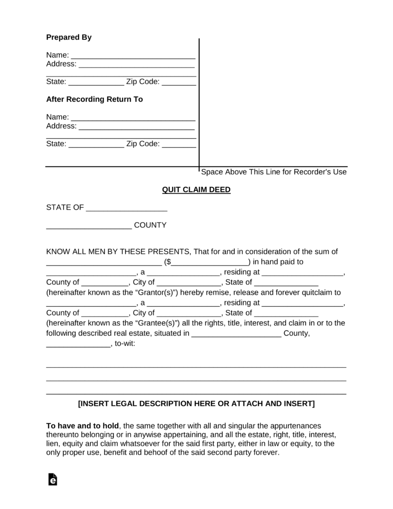 Free Quit Claim Deed Forms - Pdf | Word | Eforms – Free Fillable Forms - Free Printable Quit Claim Deed Washington State Form