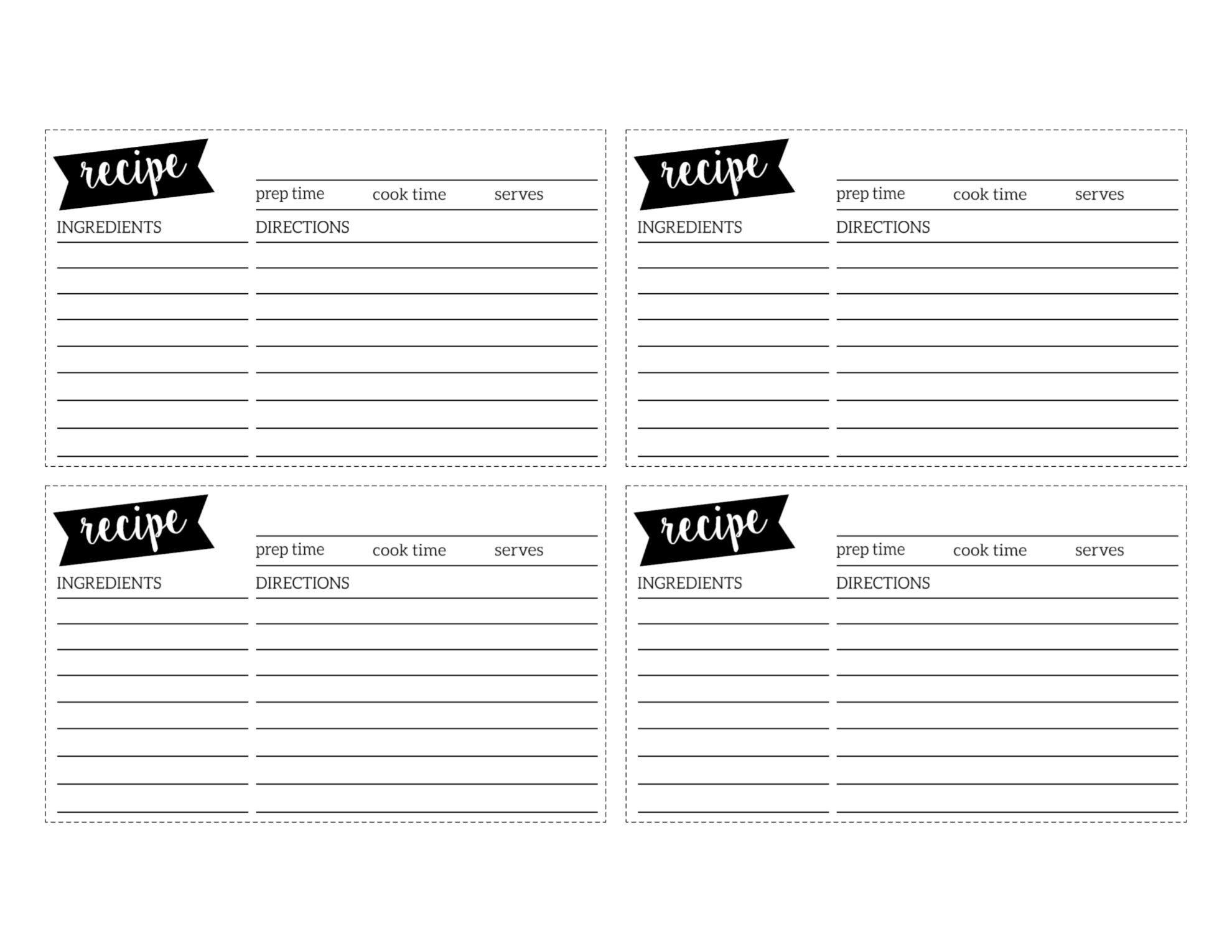 Free Recipe Card Template Printable - Paper Trail Design - Free Printable Recipe Cards