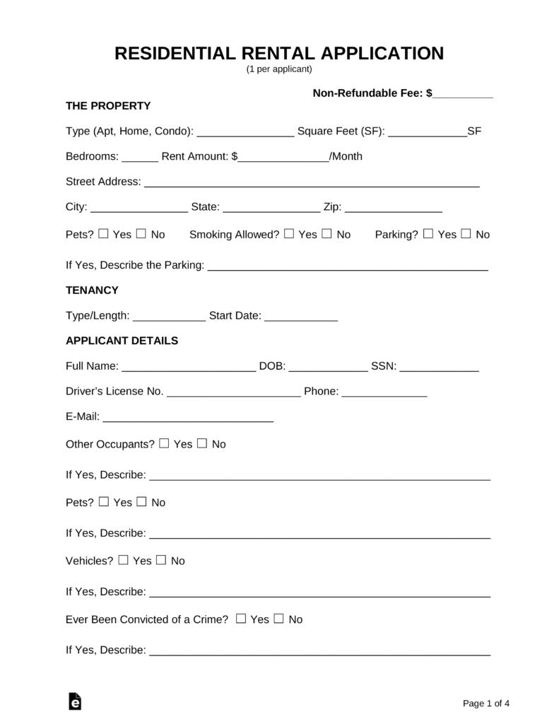 Free Rental Application Form - Pdf | Word | Eforms – Free Fillable Forms - Free Printable Rental Application