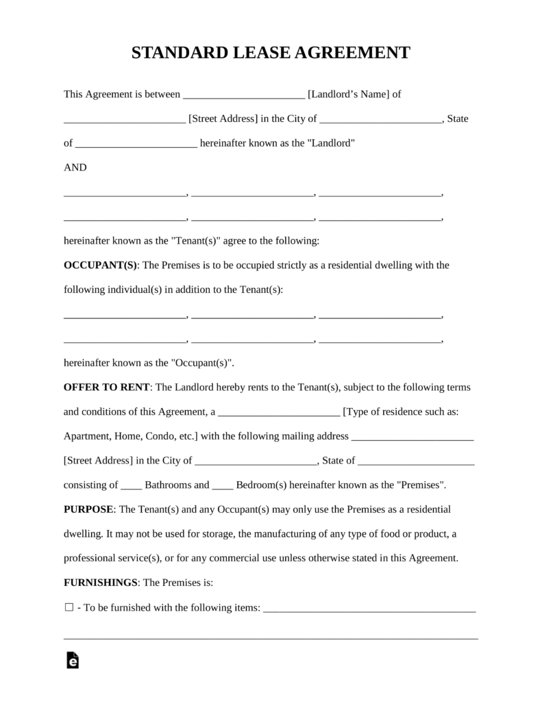Free Rental Lease Agreement Templates - Residential & Commercial - Blank Lease Agreement Free Printable