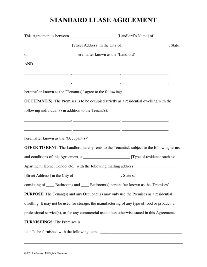 Free Rental Lease Agreement Templates - Residential & Commercial - Free Printable Lease Agreement