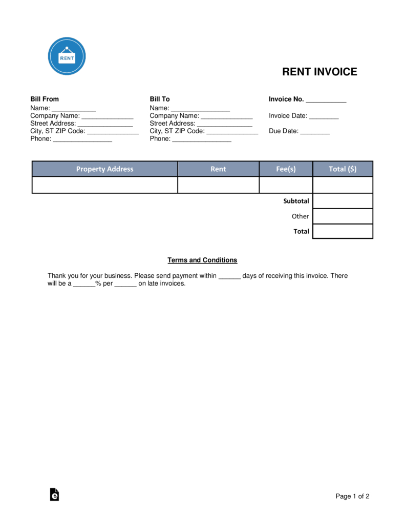 Free Rental (Monthly Rent) Invoice Template - Word | Pdf | Eforms - Free Printable Rent Ledger