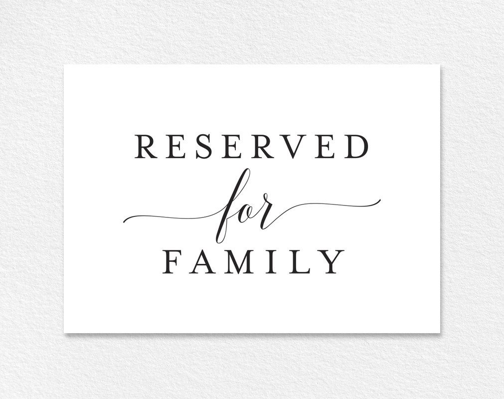 Free Reserved For Family Printable Card From | Emily | Reserved - Free Printable Reserved Table Signs