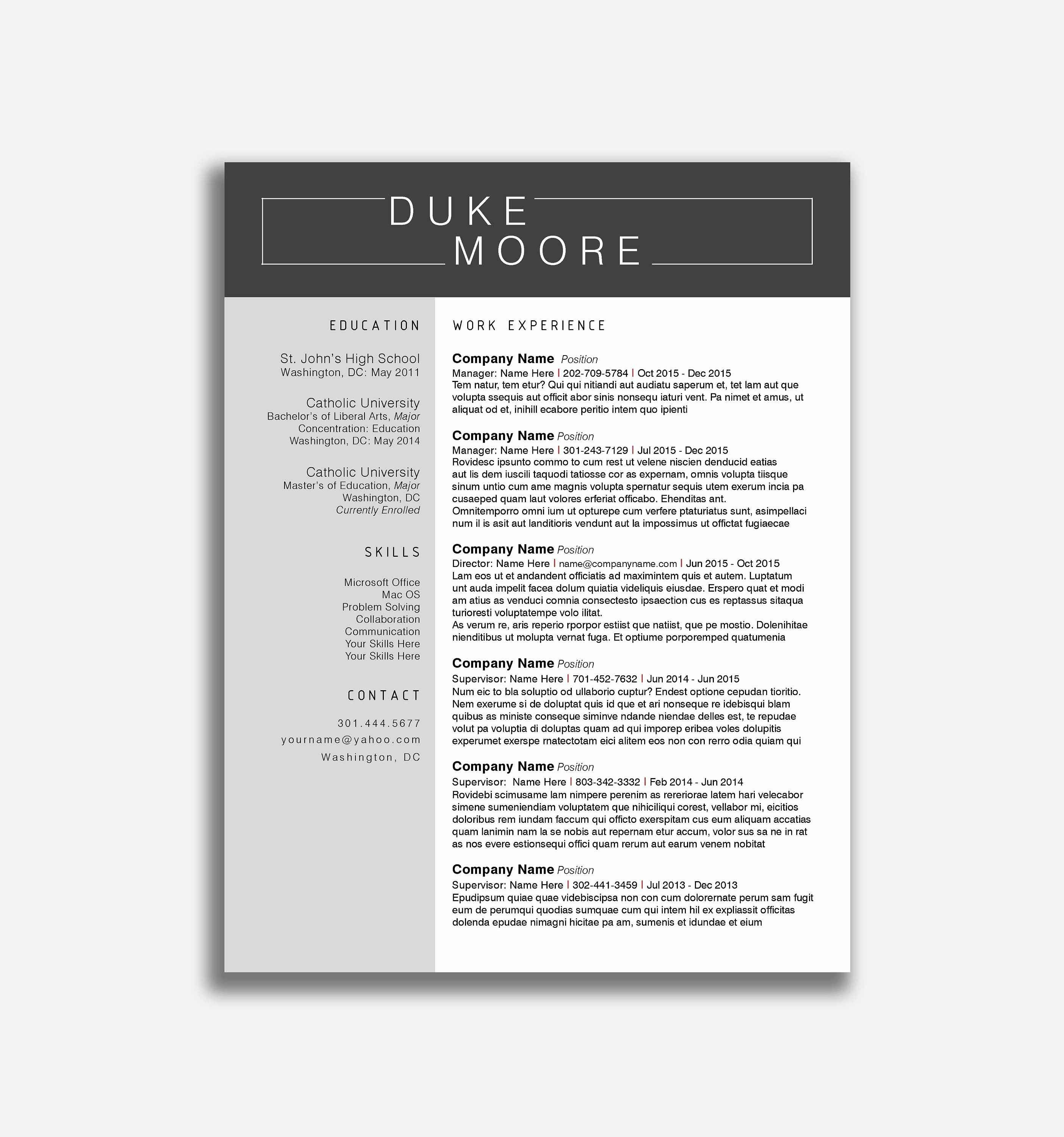 Free Resume Templates Microsoft Word – Free Printable Resume Builder - Free Printable Professional Resume Templates