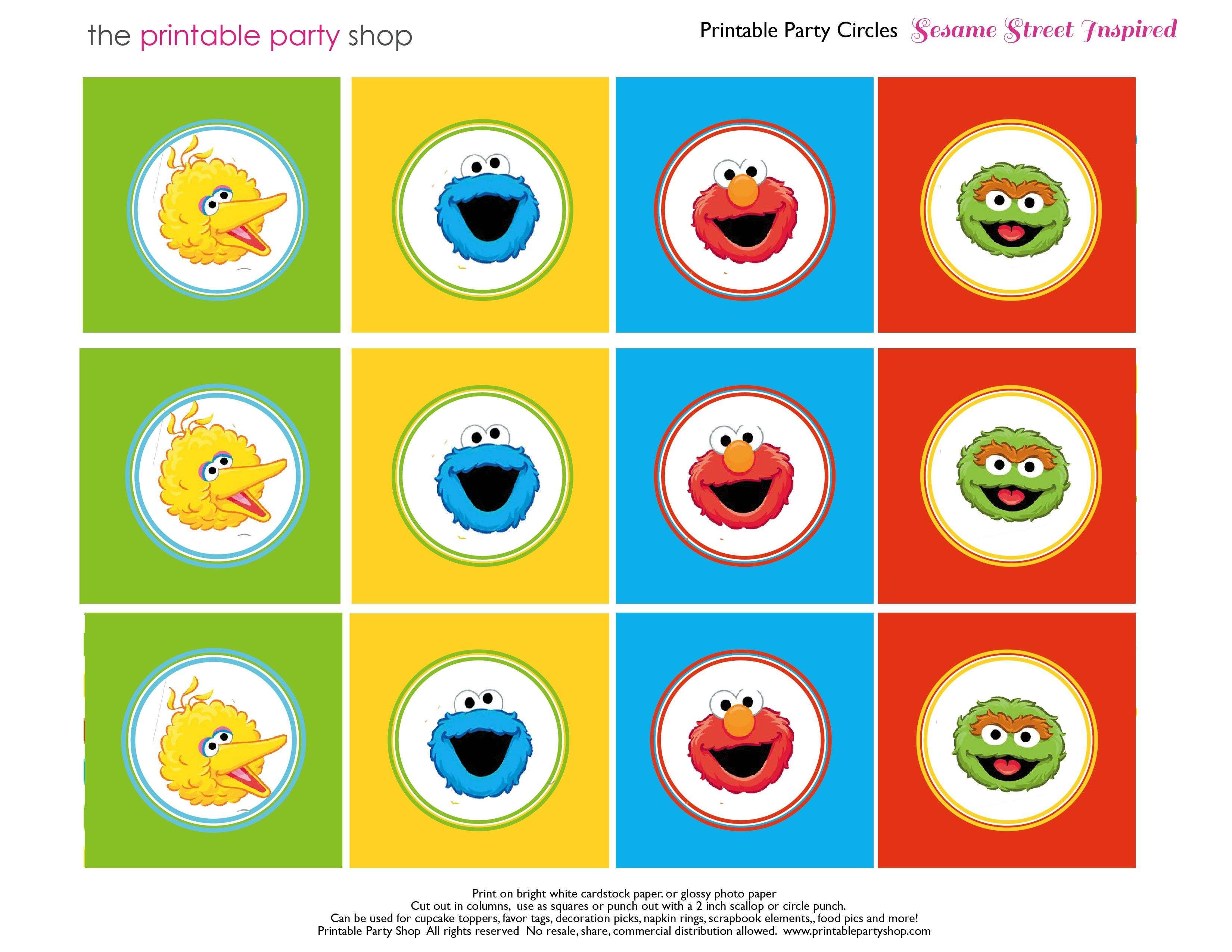 Free Sesame Street Printables | Party-Circles-Characters-Colorblocks - Free Printable Sesame Street Food Labels