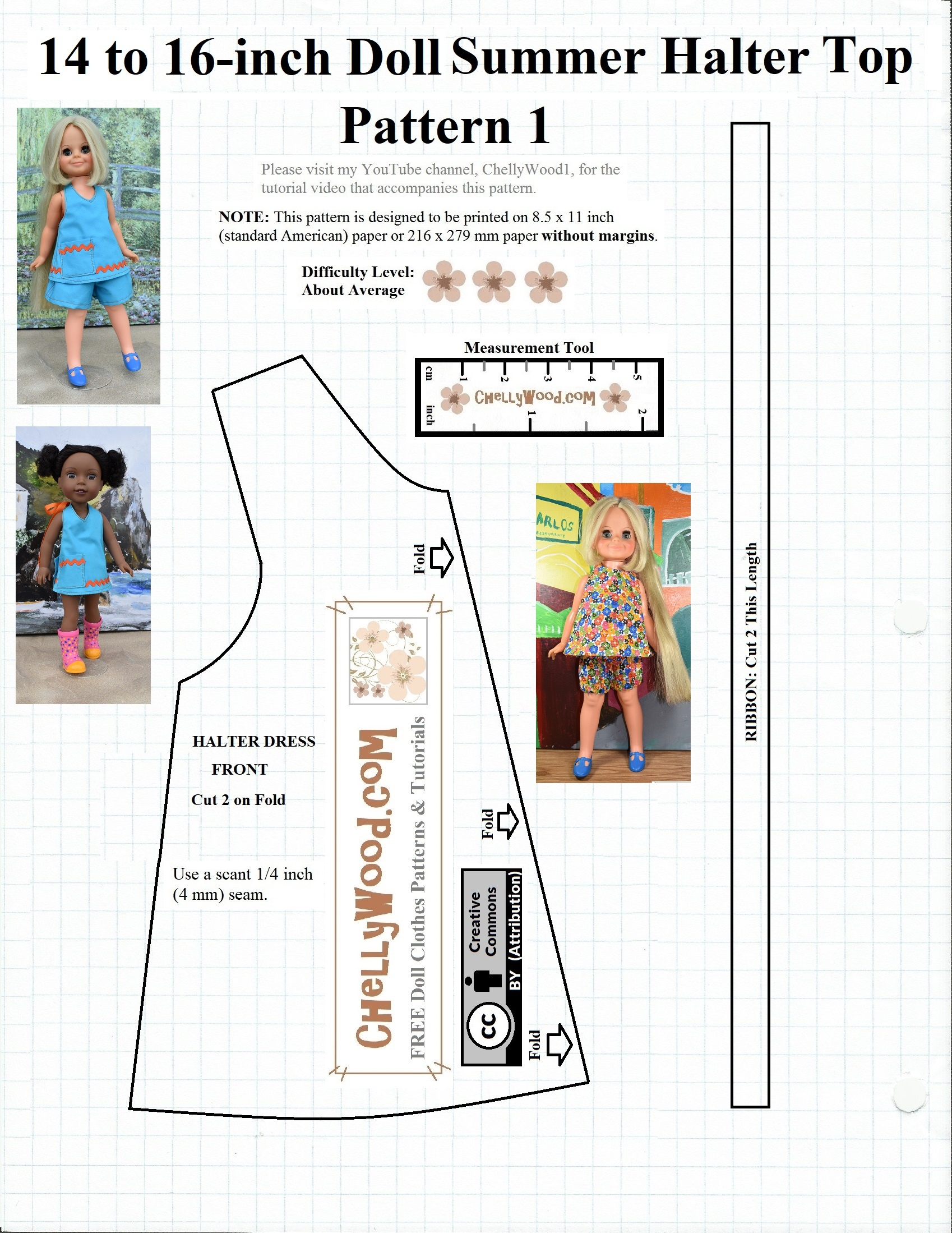 Free #sewing Pattern For 14″ (35 Cm) #dolls @ Chellywood #crafts - Free Printable Doll Clothes Patterns For 18 Inch Dolls