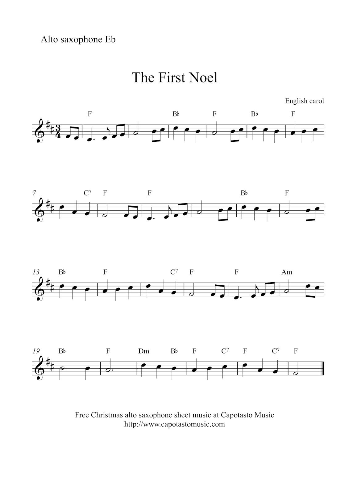 Free Sheet Music Scores: Alto Saxophone Christmas | Xmas Music - Free Printable Frosty The Snowman Sheet Music