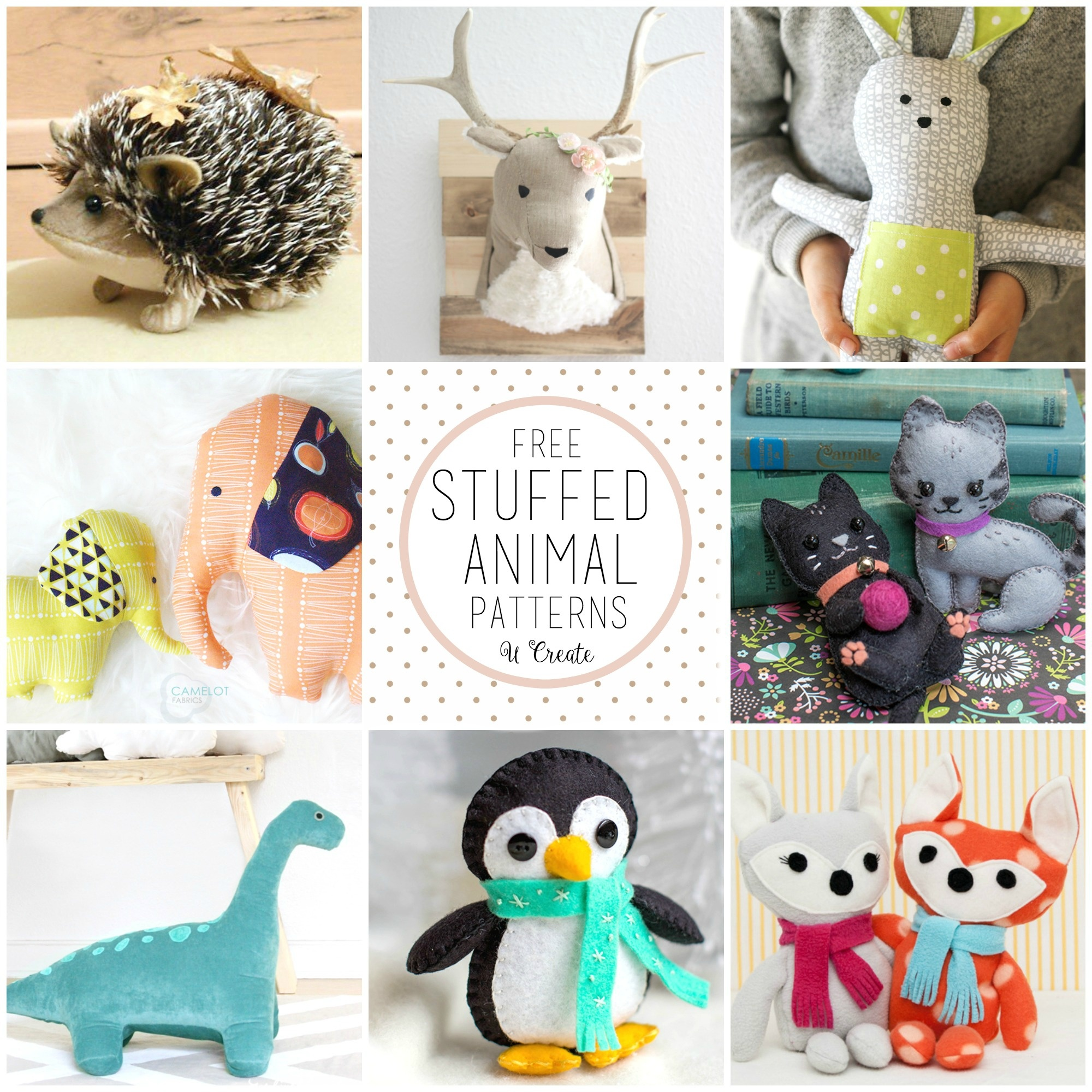 Free Stuffed Animal Patterns - The Cutest! - U Create - Free Printable Stuffed Animal Patterns