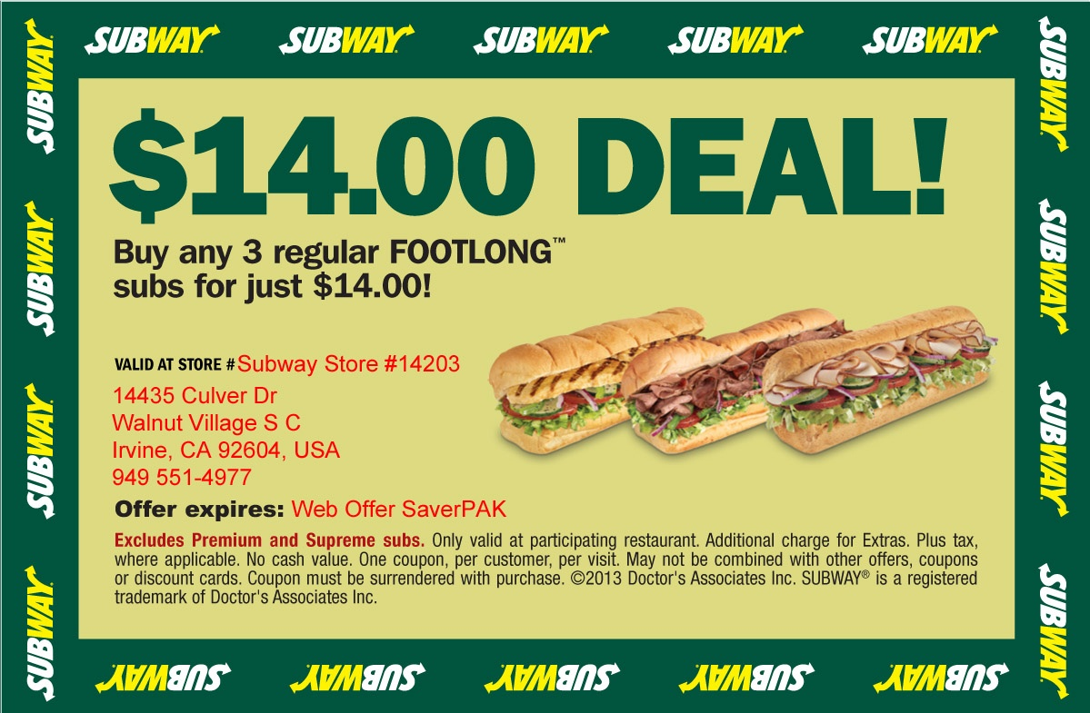 Free Subway Subs Coupons / Best Contract Phone Deals For Bad Credit - Free Printable Subway Coupons 2017